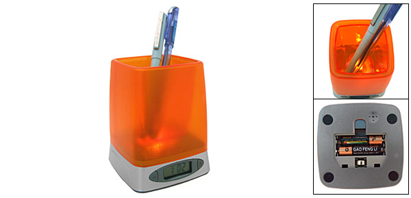 Orange Hourly Chime Digital Alarm Clock Desk Pen Holder with Night Light