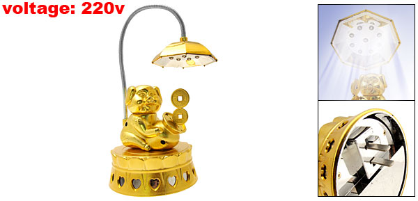 US Plug 220VAC Gold Tone Mammon Pig Rechargeable Reading Desk Lamp Light