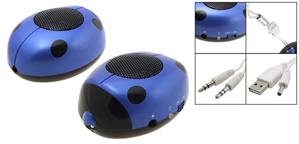 MP3 Portable Mini Ladybug Sound Box Speakers w/Lithium Battery