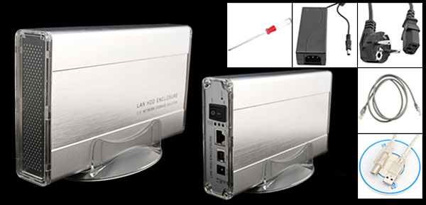 Aluminum 3.5'' Ethernet Network Storage Solution Lan IDE HDD Enclosure