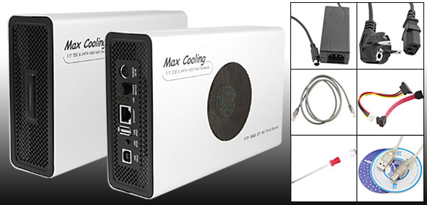 Aluminum Max Cooling Fan 3.5'' USB 2.0 & Lan SATA IDE HDD Enclosure