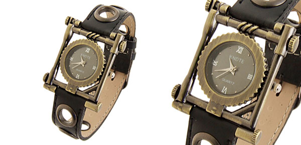 Fashion Jewelry Leather Wristwatches Black Ladies Watches