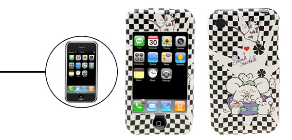 Black and White Checked Fat Mouse Cartoon Plastic Case for iPhone 1st Generation