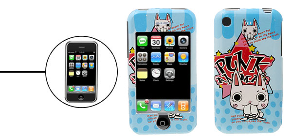Kitty Cartoon Hard Plastic Case for iPhone 1st Generation Blue
