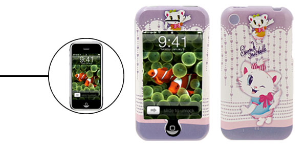 Cartoon Plastic Case Aristo Cat Pattern for iPhone 1st Generation