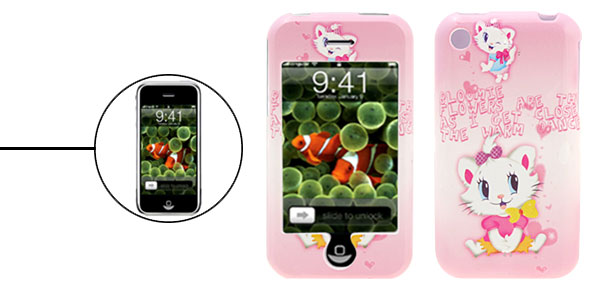 Pink Aristo Cat Cartoon Plastic Case for iPhone 1st Generation