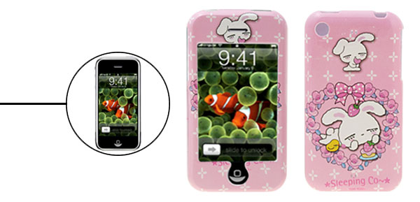 Pink Rabbit Cartoon Hard Plastic Case for iPhone 1st Generation