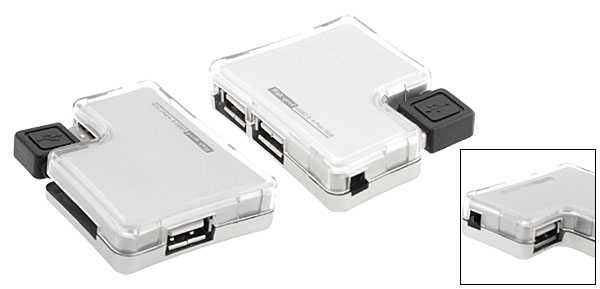 Laptop Computer High Speed USB 2.0 4 Ports Hub Silver