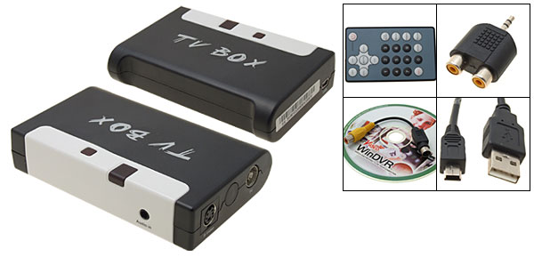Desktop Laptop USB 2.0 TV Tuner Box with Video Capture and Remote Control