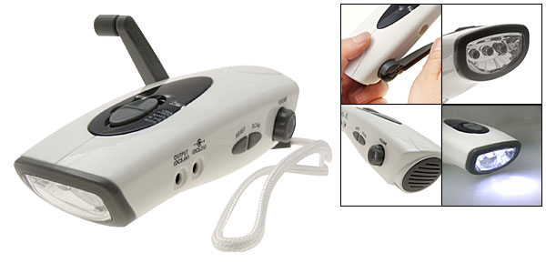Battery Free Hand Wind Crank Press Charger Radio Flashlight