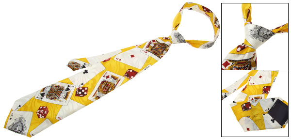 Casino Poker Card Hand Made Silk Necktie Men's Neck Tie Strap - Yellow