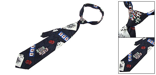Hand Made Silk Poker Card Casino Chips Necktie Men's Neck Tie Strap