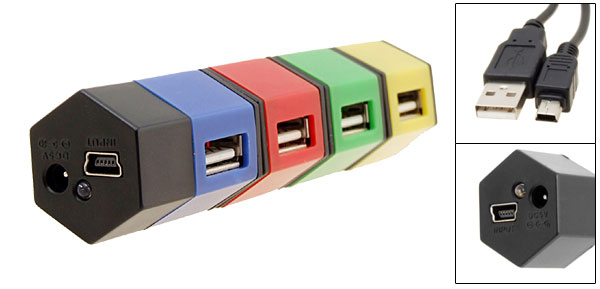 Hexagon Rotatable USB 2.0 Hi-speed 4 port Hub