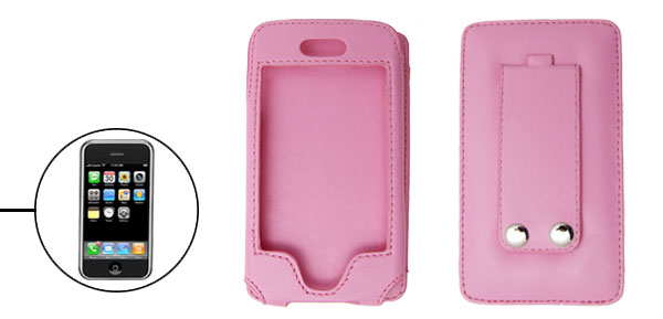 Stylish Pink Vertical Stand Faux Leather Protector Case for Apple iPhone 1st Generation