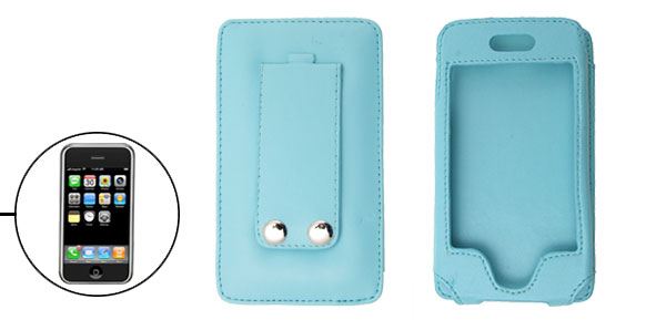 Vertical Man-made Leather Sky Blue Case for Apple iPhone 1st Generation