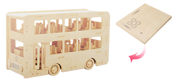 New 3D Puzzle DIY Wooden Educational Toys Double-Decker Bus Model