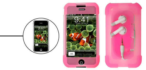 Silicone Skin Case for Apple iPhone 1st Generation w/Headphone Wire Wrap Peachblow