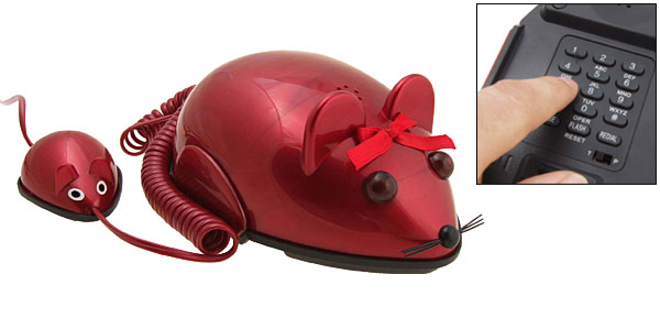 Red Mouse Cartoon Home Telephone Phone