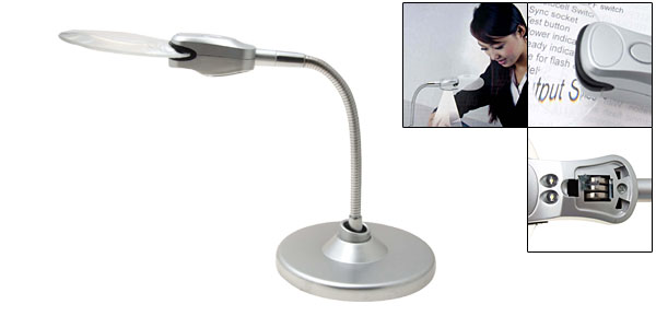 Silver Flexible Magnifying Desk Lamp 2 LED Magnifier Light