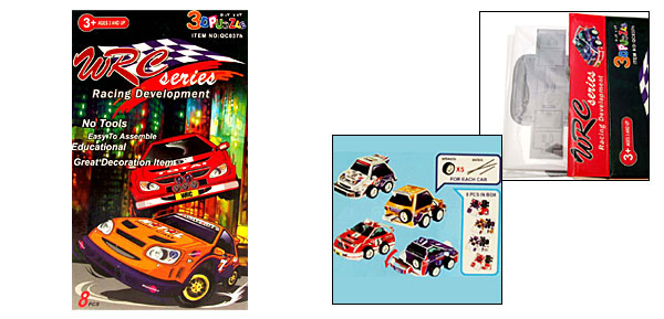 Unique 8 PCS 3D Racing Car Puzzle Children Educational DIY Toys