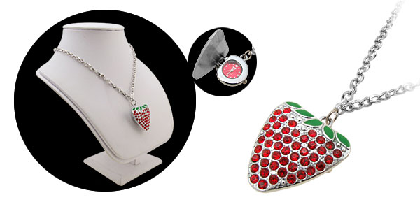 Rhinestone Red Strawberry Pendant Necklace Watch
