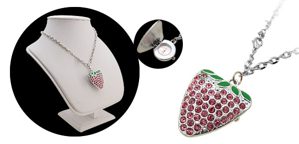 Pink Rhinestone Strawberry Necklace Watch