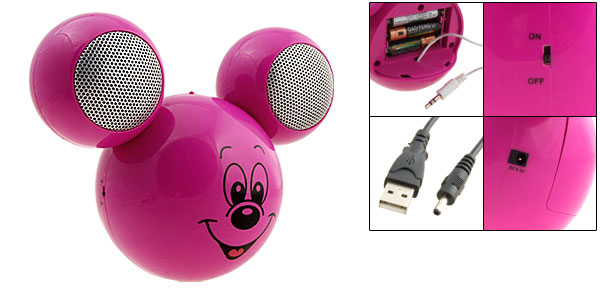 Peachblow Cartoon Mouse Head Home USB Audio Speakers