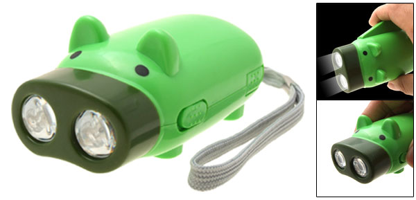 Hand Pressing Emergency Two LED Bulbs Superior Lumination Flash Light Green