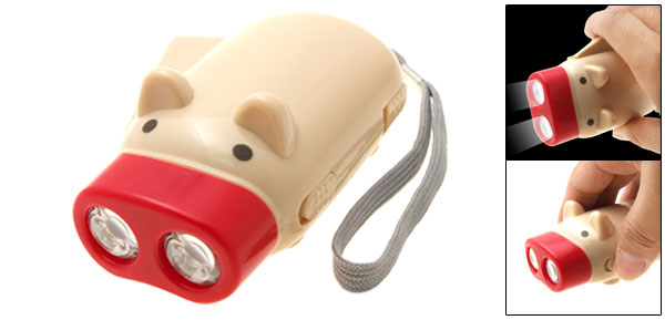 Hand Pressing Piggy Dynamo Flash Light