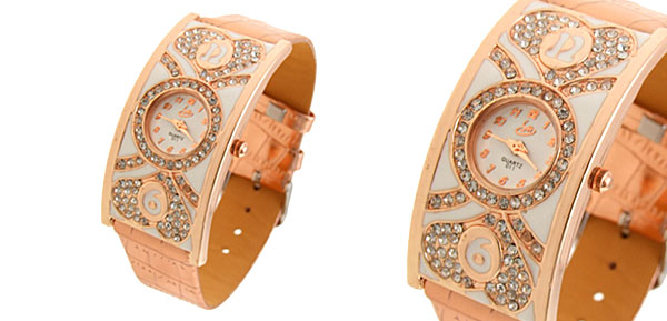 Rose Golden Arciform Womens Watch Artifical Leather Band