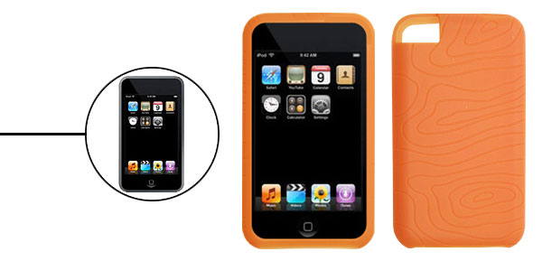 Orange Skidproof Silicone Case Skin for Apple iPod Touch 1st Generation