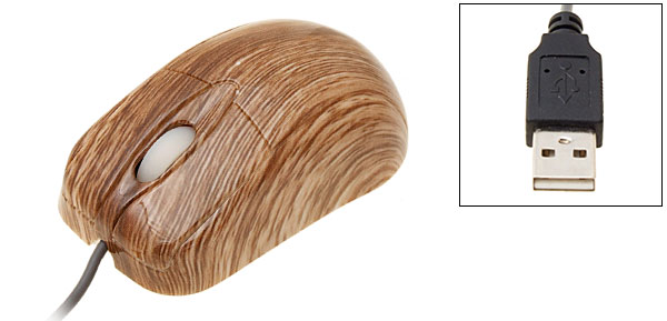 Super Mini Wooden-like USB Optical Mouse for PC Notebook Laptop