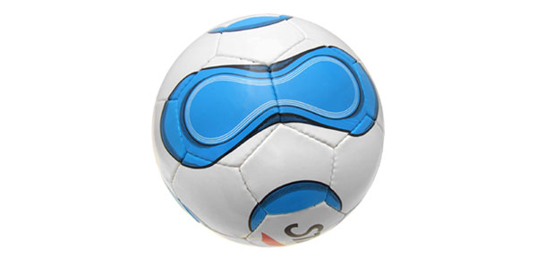 Unique Official White and Blue Leather Soccer Ball Football Size 5
