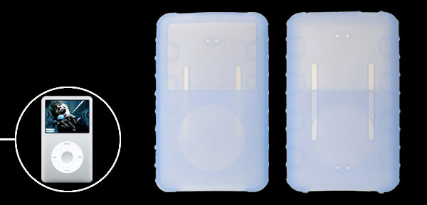 Light Blue Rubber Silicone Skin Case for iPod Classic 80GB