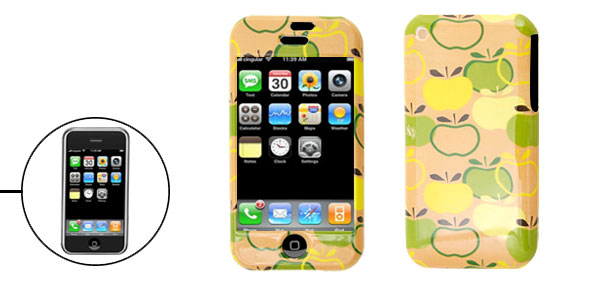 Apple Pattern Plastic Hard Protective Case for Apple iPhone 1st Generation Yellow