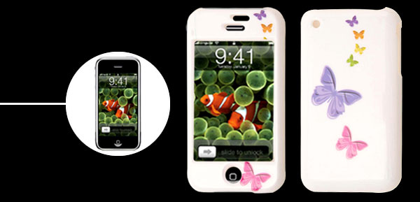 White Butterfly Plastic Hard Case Cover for Apple iPhone 1st Generation
