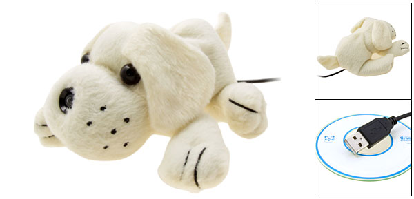 White Fur Puppy  USB PC Video Webcam Camera