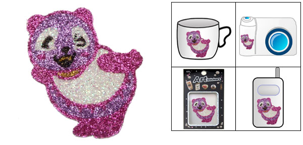 Crystal Purple Bear Model Flash Art Stickers