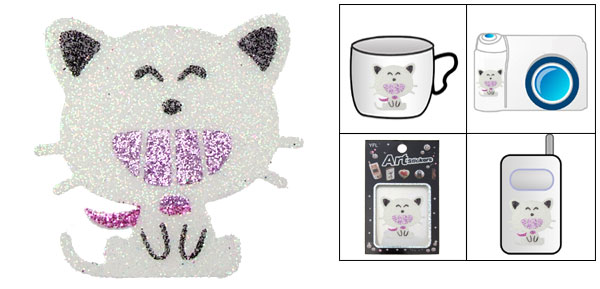 Glitters Silver Cat Model Art Flash Mobile Stickers