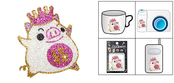 Pink Pig Empress Glare Flash Art Sticker