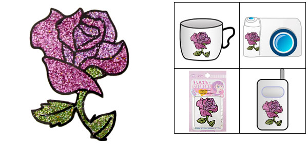 Purple Rose Flash Art Sticker for Notebook PDA Mp4