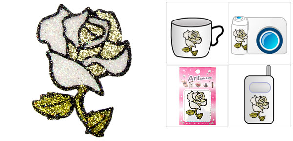 Yellow Rose Flash Art Sticker for Notebook Mp4 Mobile Phone