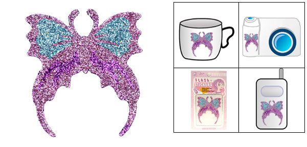 Pink Butterfly Crystal Diamond Flash Art Sticker