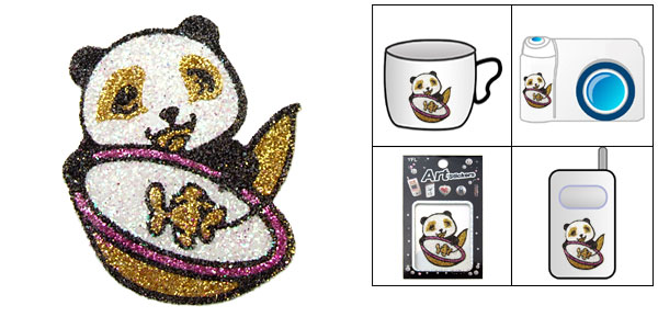 Panda Art Diamond Flash Sticker