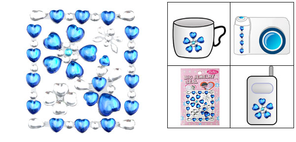 Blue Heart Crystal Art Stickers for Mp3 Mp4 Mobile Phone