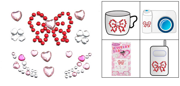 Heart Pink Model Jewelry Seal Fashion Sticker