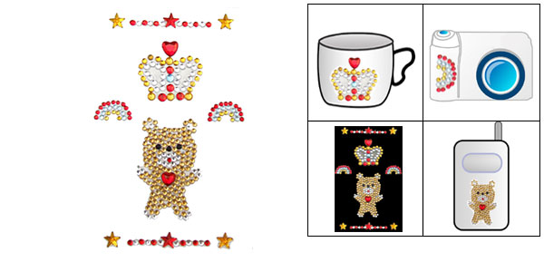 Jewelry Crown Bear Fashion Stone Seal Sticker