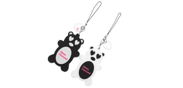 Sweet Bear Couple Heart Model Pendant Honey Plastic Phone Strap