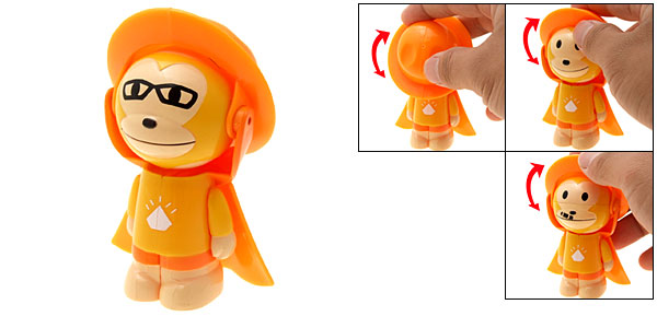 Orange Cartoon Changing Face Monkey Toy Novelty Key Chain