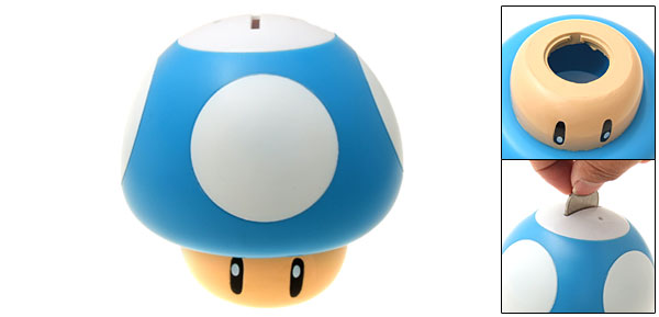Mushroom Money Saving Coin Box Piggy Bank Blue